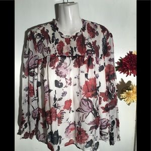 Lucky Brand Floral Sheer Top